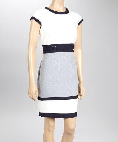 Ivory & Navy Cap-Sleeve Sheath Dress by Sandra Darren on #zulily! #zulilyfinds