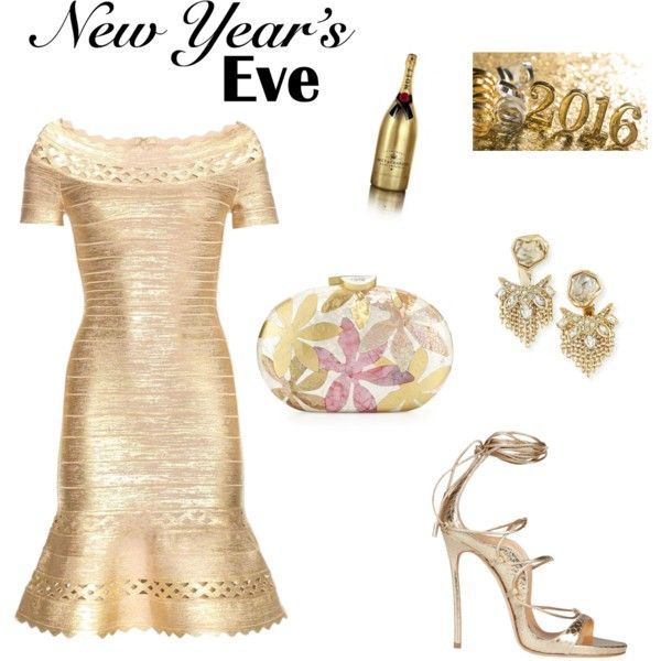 Happy New Year by modochique on Polyvore featuring polyvore fashion style Hervé Léger Rafe Alexis Bittar Moët & Chandon