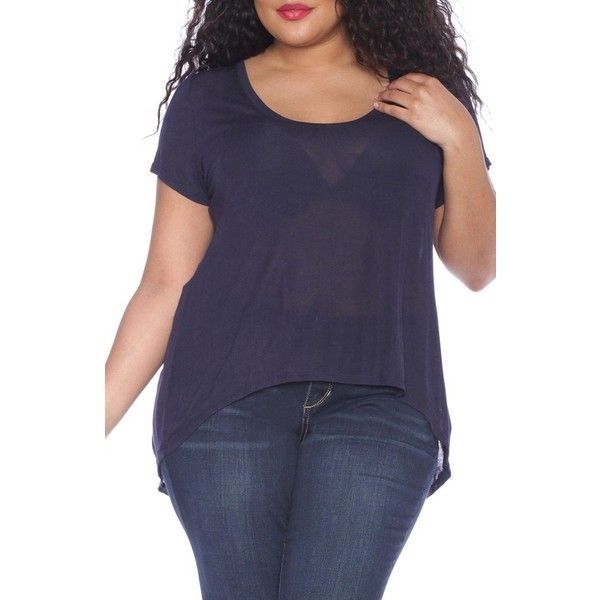 6402269b8c44cc Plus Size Women's Slink Jeans High/low Scoop Neck Tee ($48) ❤ liked ...