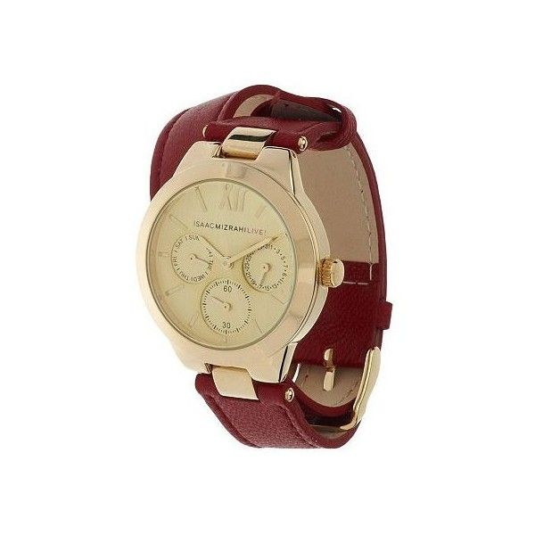 Isaac Mizrahi Live Round Case Double Strap Leather Watch 42