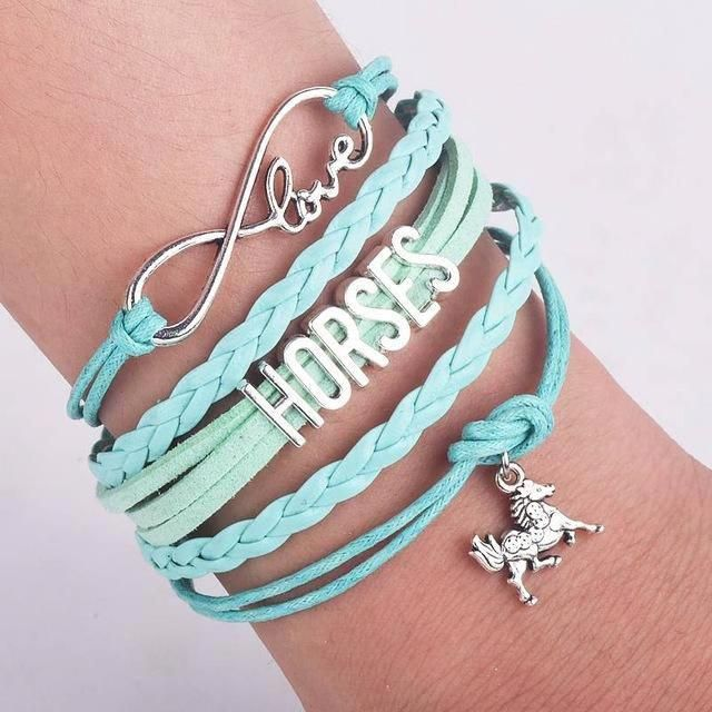 f7e7e249e New Style Handmade Infinity Love 8 & Silver Plating Letters Horse Charm  Leather Bracelet for