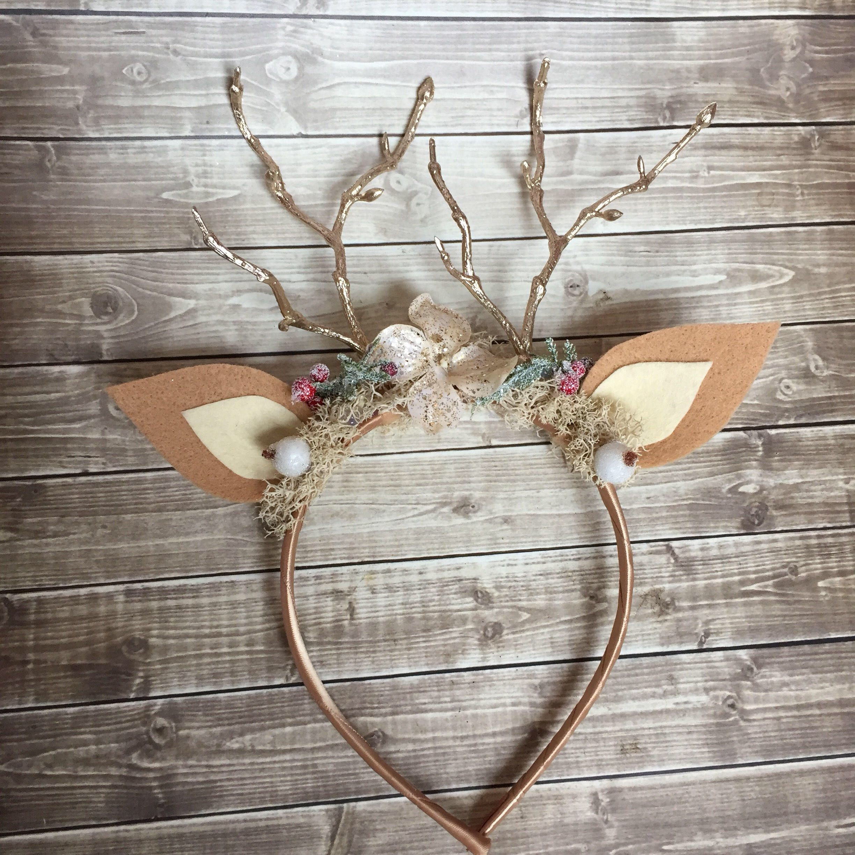 Christmas Holiday Antler Reindeer Floral Baby Girls Headband Burgundy Styl...