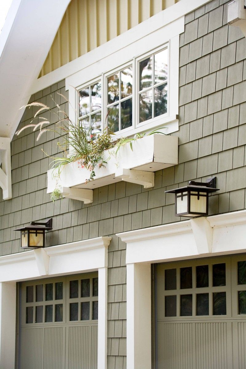 Glass Garage Window Wooden Garage Door Shingle Siding Window Box Of
