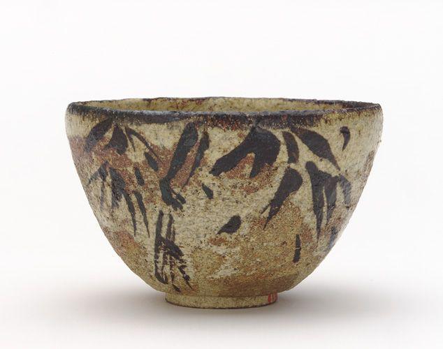 Kenzan-style Tea bowl with design of bamboo, late 19th century. Kyoto workshop, imitation Meiji era. Buff clay; iron pigment under transparent glaze. H: 7.5 W: 12.0 cm. Kyoto, Japan.