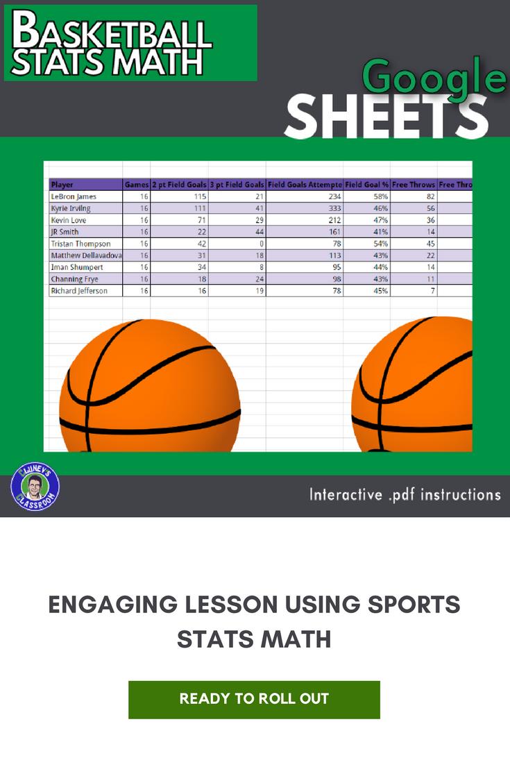 Google Sheets Basketball Stats Math Activity Distance Learning Basketball Stats Basketball Google Sheets