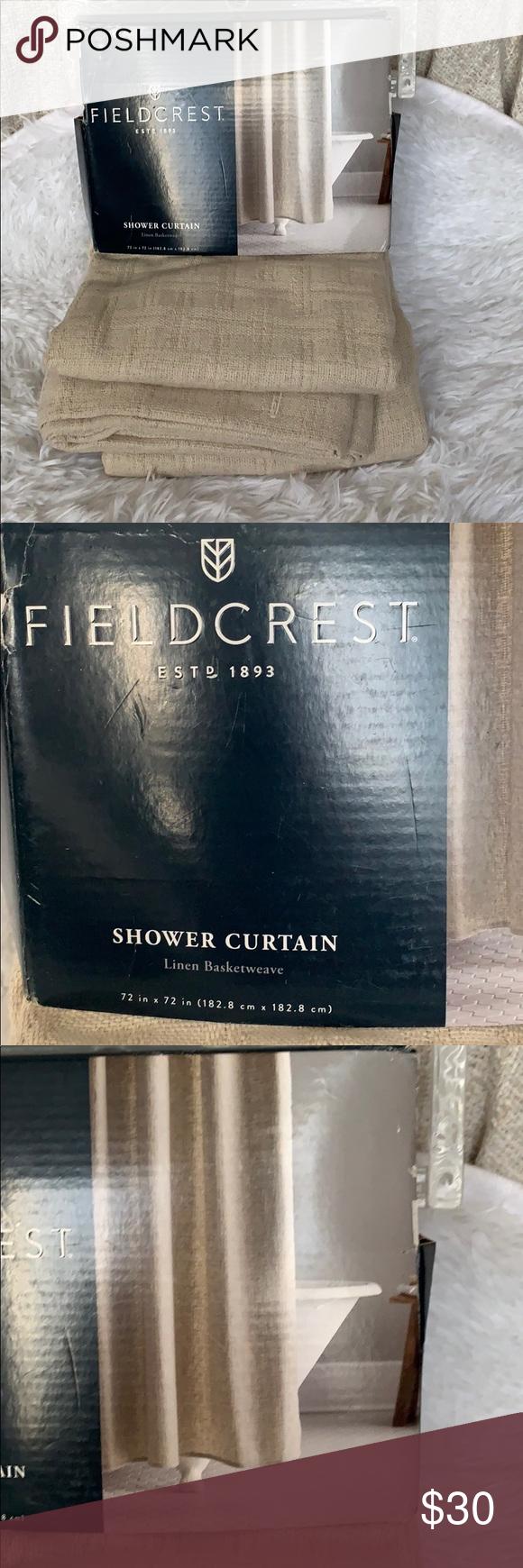 Nwt Fieldcrest Shower Curtain Linen Basketweave Nwt Fieldcrest