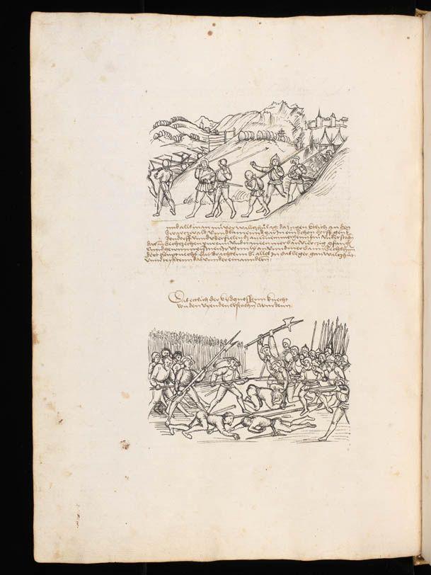 """Aarau, Aargauer Kantonsbibliothek, ZF 18, f. 18v – Werner Schodoler, Eidgenössische Chronik, Vol. 3 The Eidgenössischen Chronik/Luzerner Chronik. A manuscript by Wernher Schodoler. Made in 1513. About the Swiss wars with """"Habsburg, die Burgunderkriege, dem Schwabenkrieg und zuletzt den italienischen Feldzügen"""" http://de.wikipedia.org/wiki/Eidgen%C3%B6ssische_Chronik_%28Schodoler%29"""