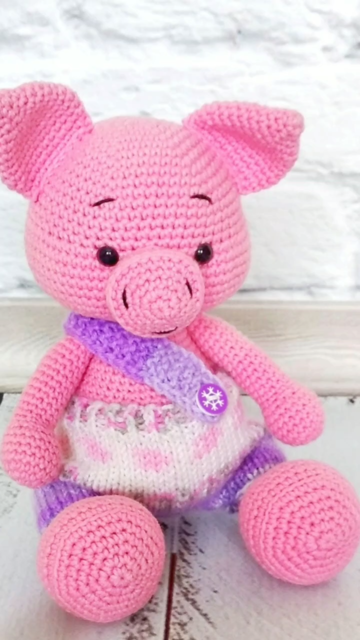 Crochet Pig Toy Miniature Pig Gift Pink Miniature Swine First Barnyard Birthday Farm Birthday shower