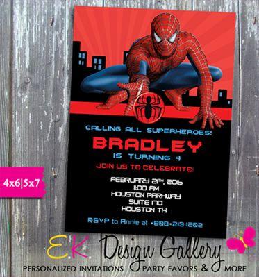 Spiderman birthday party spider man invitation printed luv bug spiderman birthday party spider man invitation printed stopboris Gallery