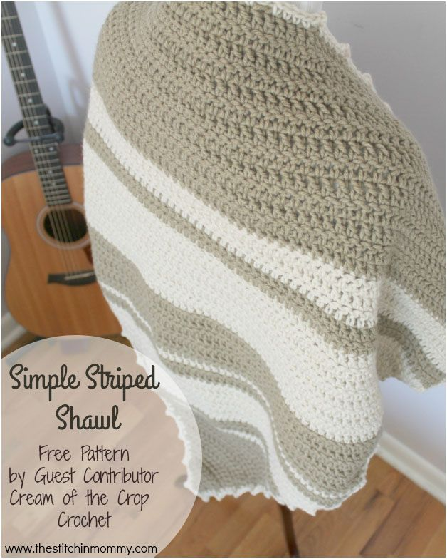 Simple Striped Shawl - Free Pattern by Guest Contributor Cream of ...