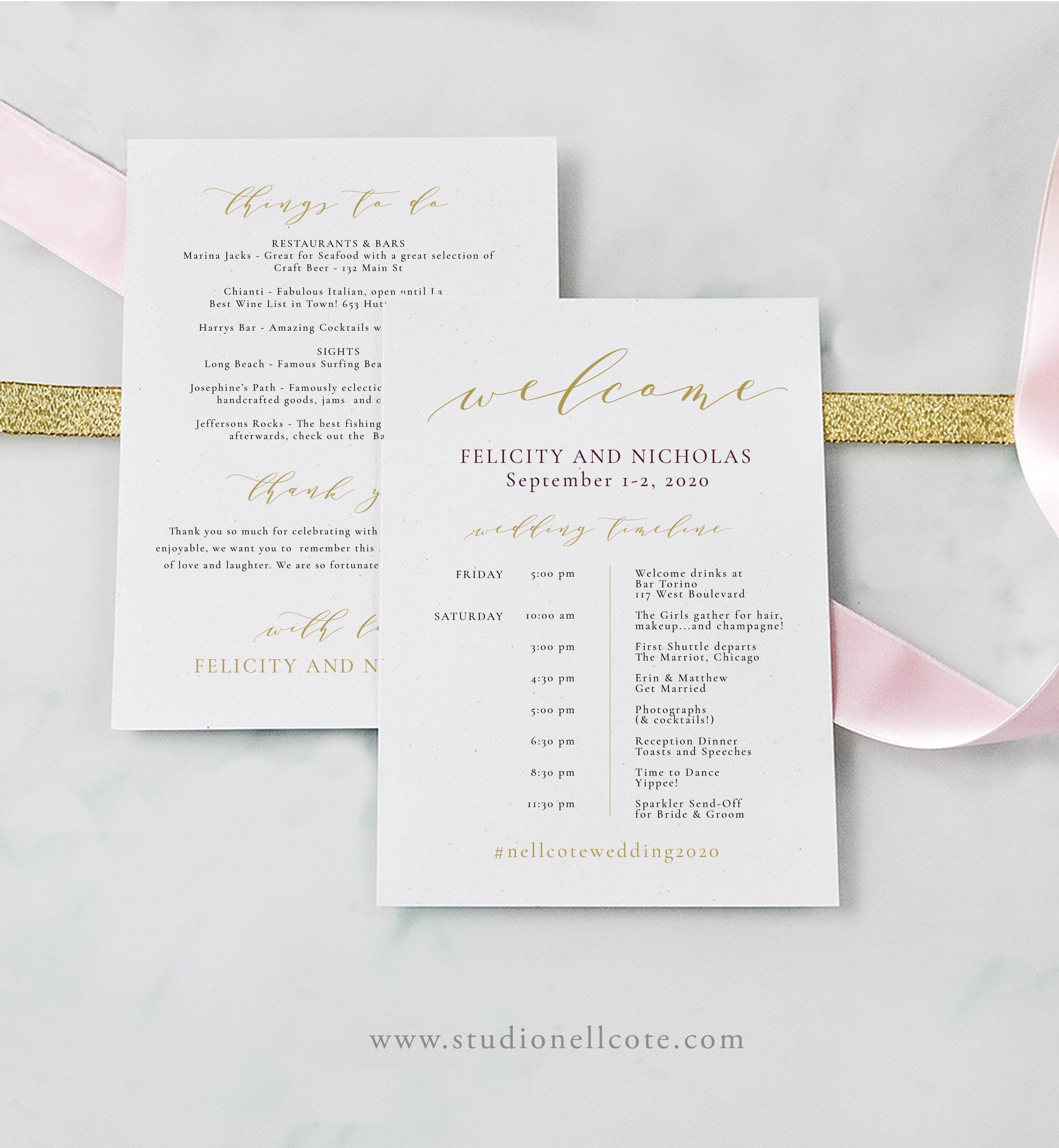 Gold Wedding Itinerary-100% Editable-Templett-Welcome Bag