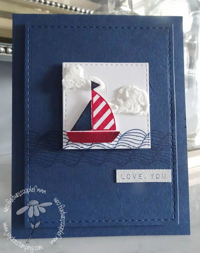 I love Jaydee's use of colour and small focal point for the image on this card…