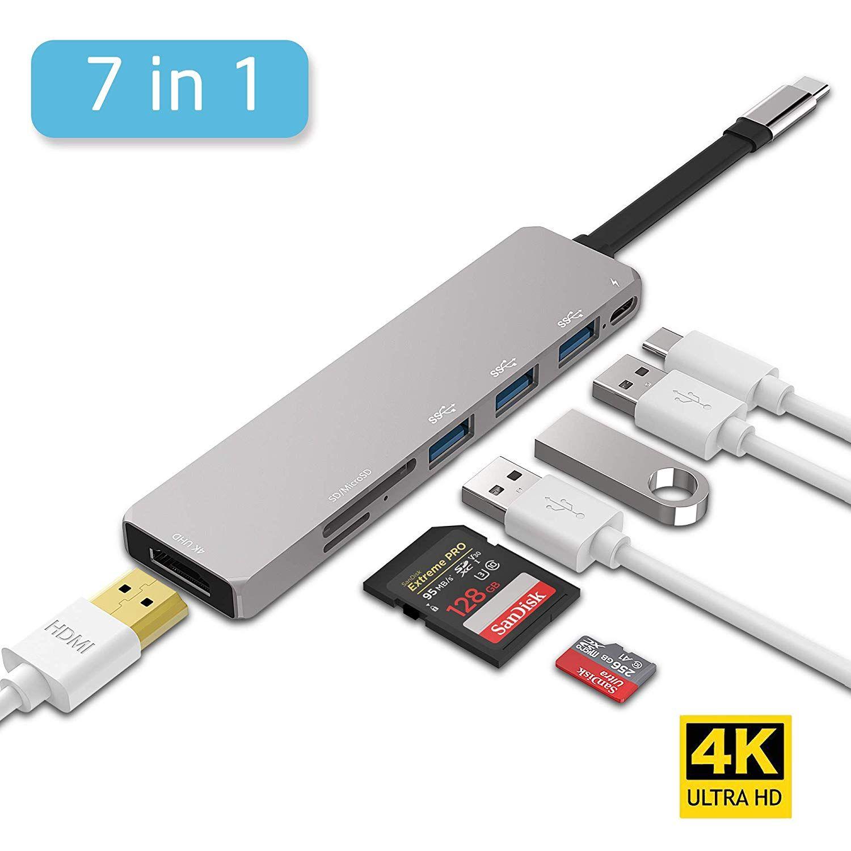 Lenovo USB-C hub, Aluminium, Type C adaptateur avec port HDMI, port