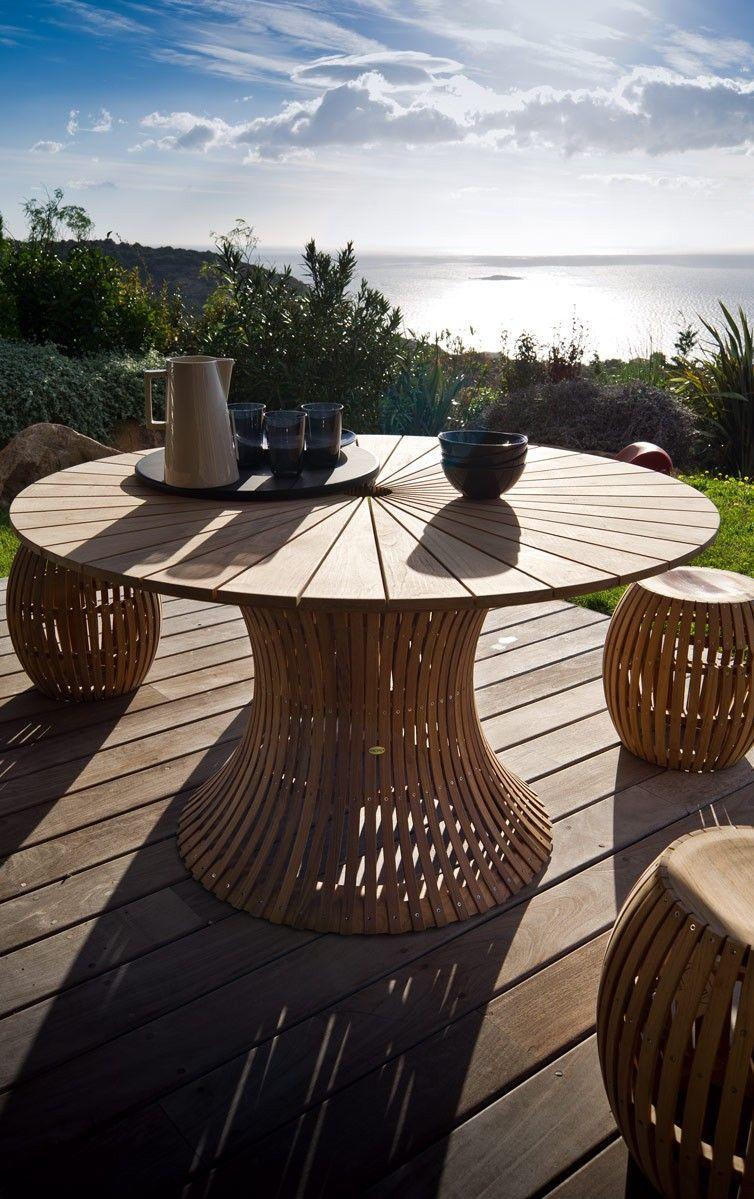 Table ronde de jardin Swing en Teck - Unopiù | projet en 2019 ...