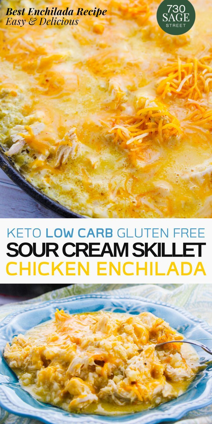 Enjoy This Cheesy Keto Low Carb Sour Cream Chicken Enchiladas Recipe Is A Delicious Quick E Sour Cream Chicken Enchilada Recipe Recipes Sour Cream Chicken