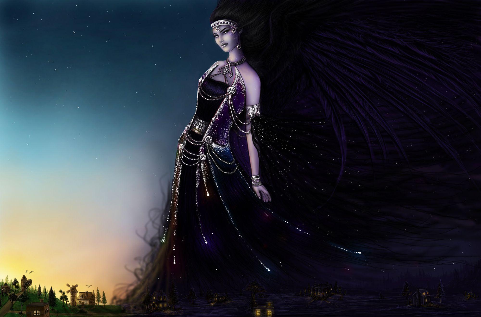 Fantasy Women Greek Goddess Nyx Night Wallpaper Emanuella Kozas