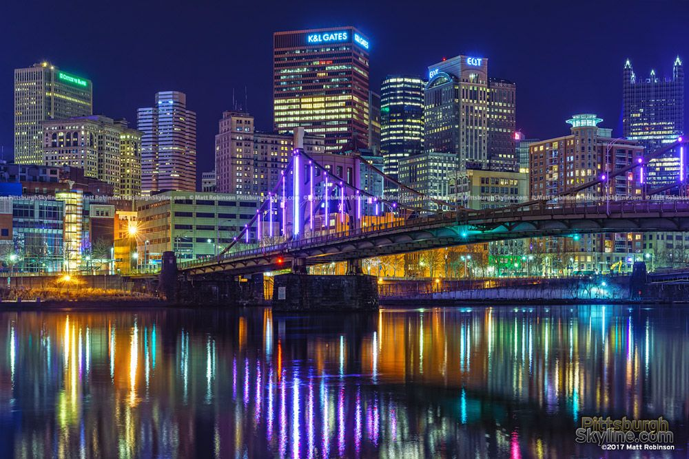 Downtown Reflects In The Allegheny River With The Rachel Carson Bridge Pittsburgh City Pittsburgh Skyline Downtown