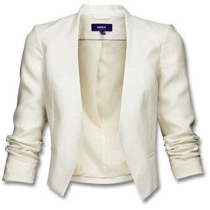 Short jacket in 100% linen, without lapel or fastening. Finished ...