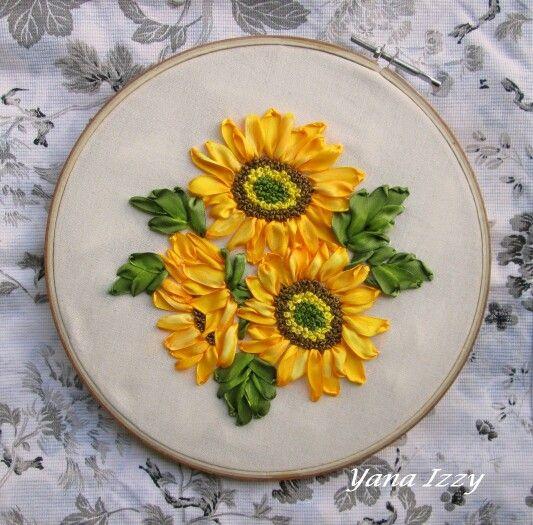 Bunga Matahari Bunga Matahari Bunga Sulaman Pita