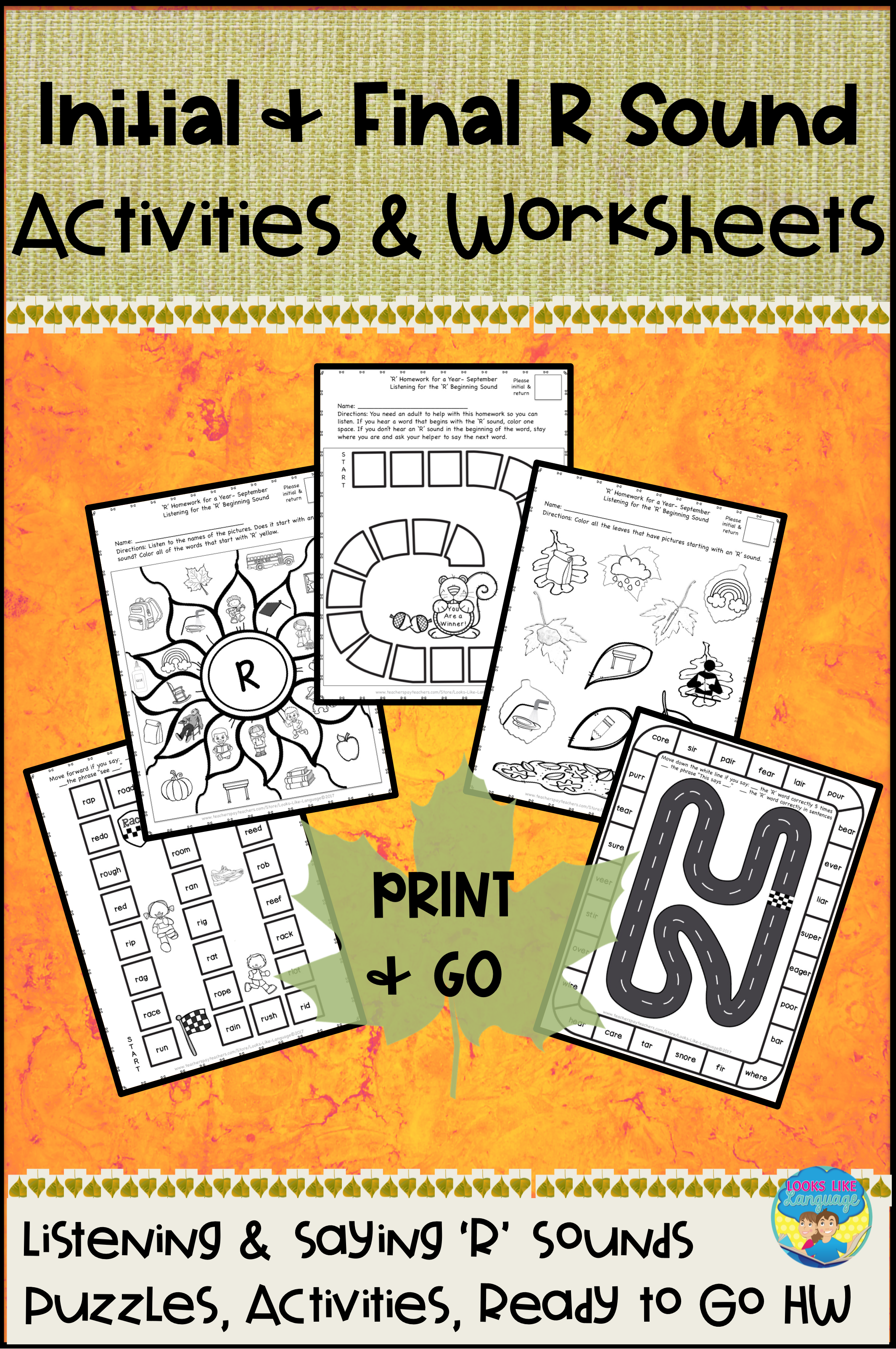 Speech Therapy R Sound No Prep Picture Activities And