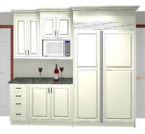 Kitchen Cabinet Uppers: PERFECT Set Up!!! Fridge And Micro On One Wall! Some