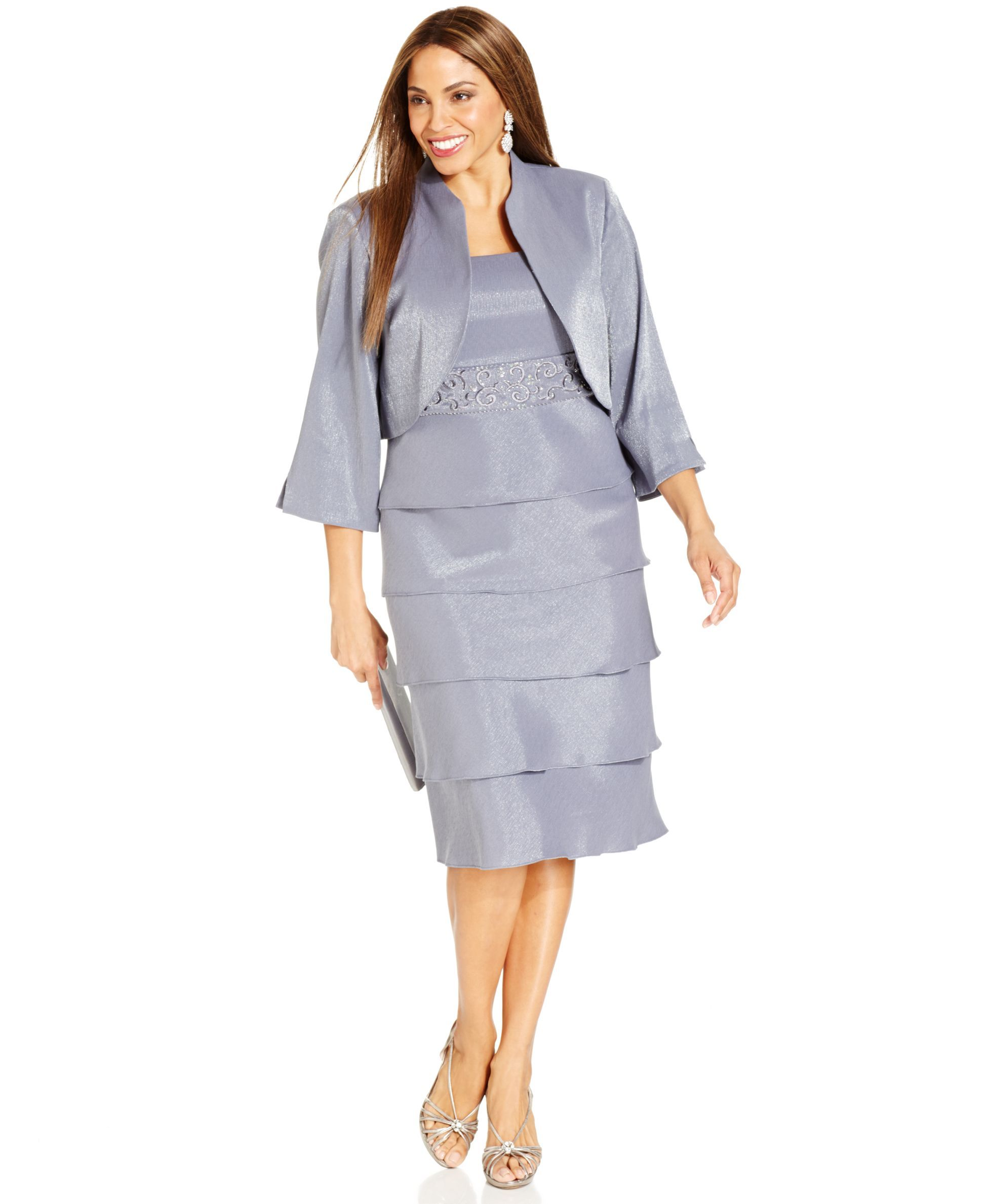 R&M Richards Plus Size Embellished Tiered Dress and Jacket ...