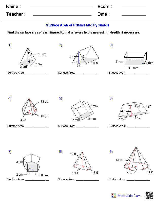 Prisms And Pyramids Surface Area Worksheets Area