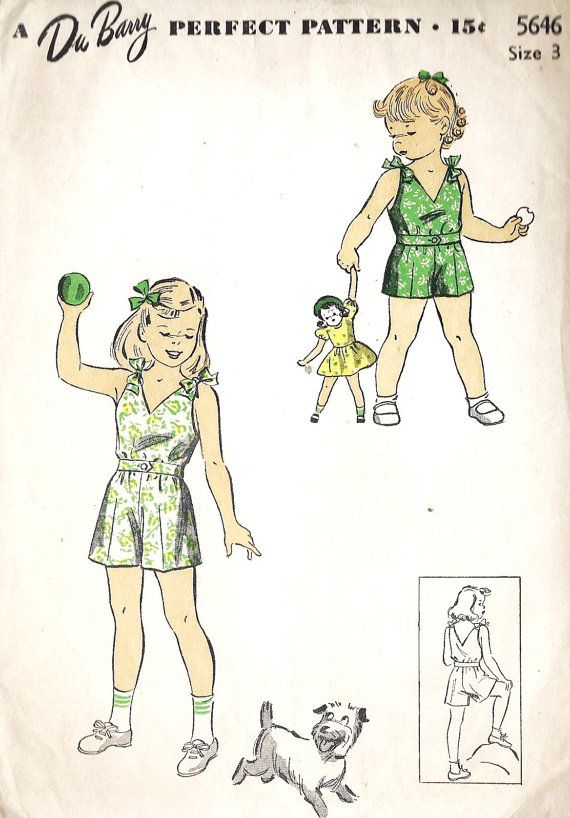summer girl\'s playsuit 1940s vintage pattern | Fashion | Pinterest ...