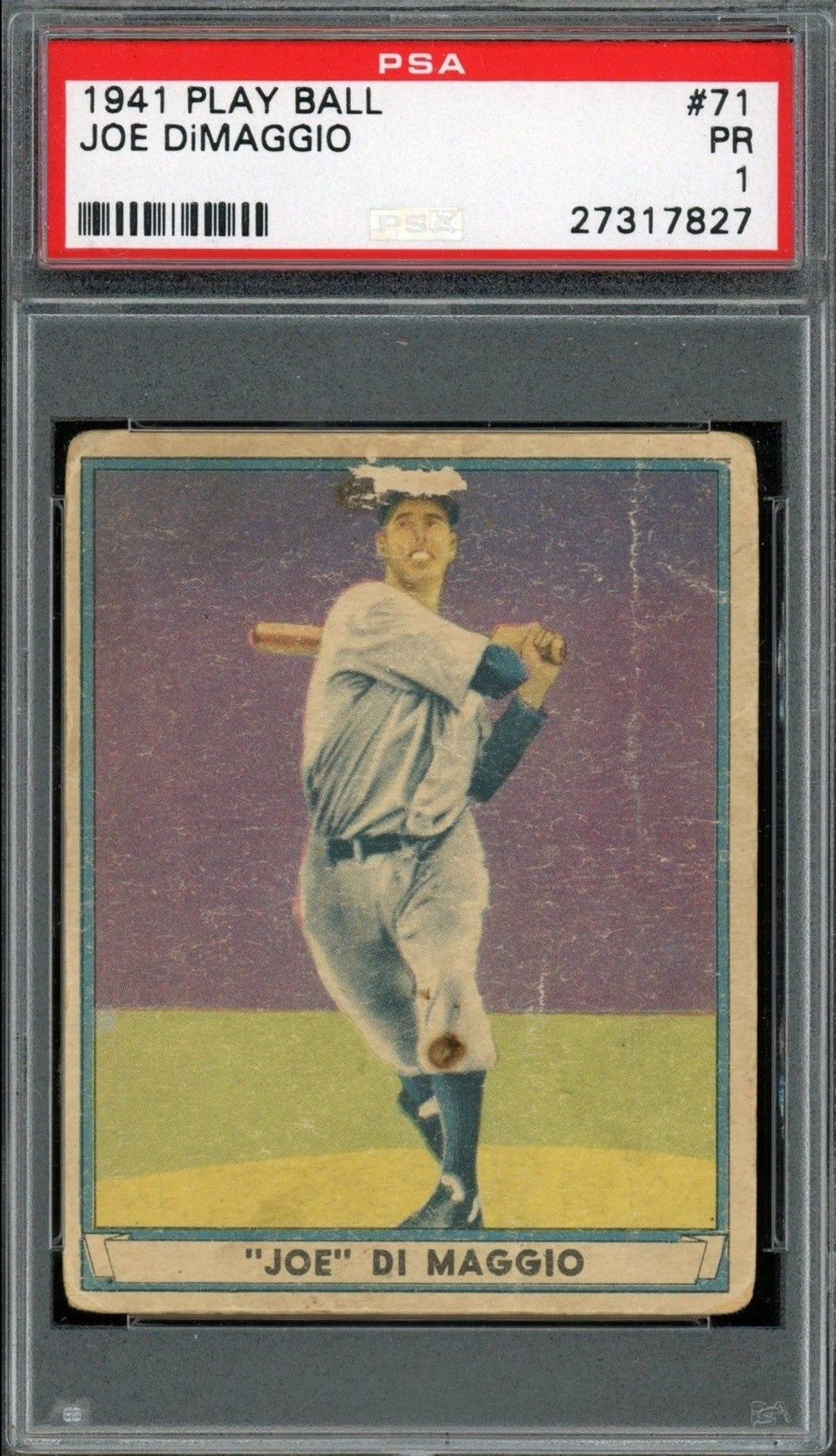 1941 Play Ball 41 Joe Dimaggio Baseball Card Graded Psa 1
