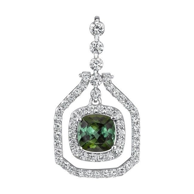 White Gold Green Tourmaline Pendant - 7635NW - You'll feel like a movie star when you wear this vintage styled unique green tourmaline and diamond slide pendant.  Shared prong set diamonds grace the narrow white gold frame, hinged to move freely, and the chain slides through the graduating diamond bail for a statement of sophistication and sheer elegance.  Also available in 18k and Platinum.