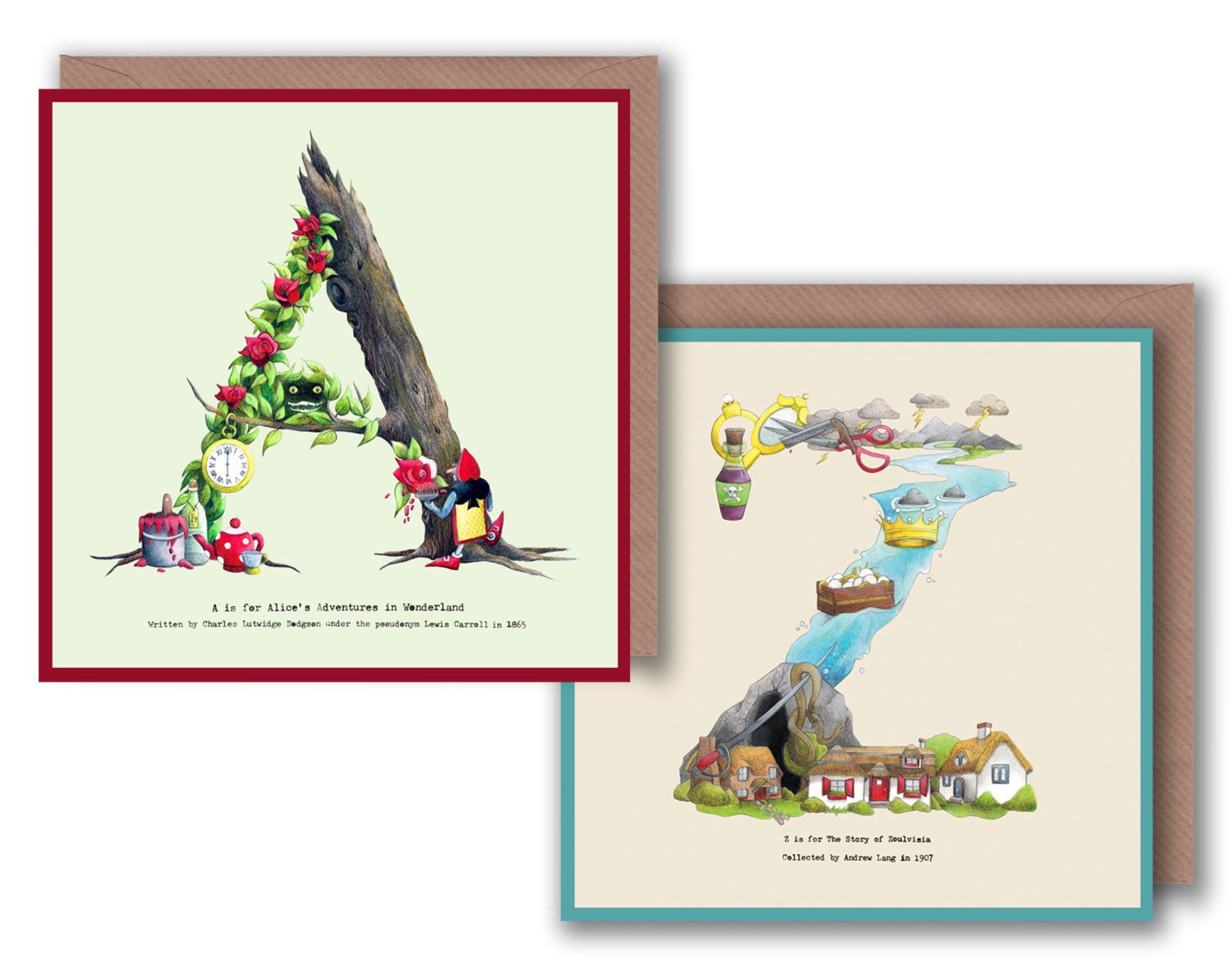 A - Z Alphabet Letter Greeting Cards inspired by ...