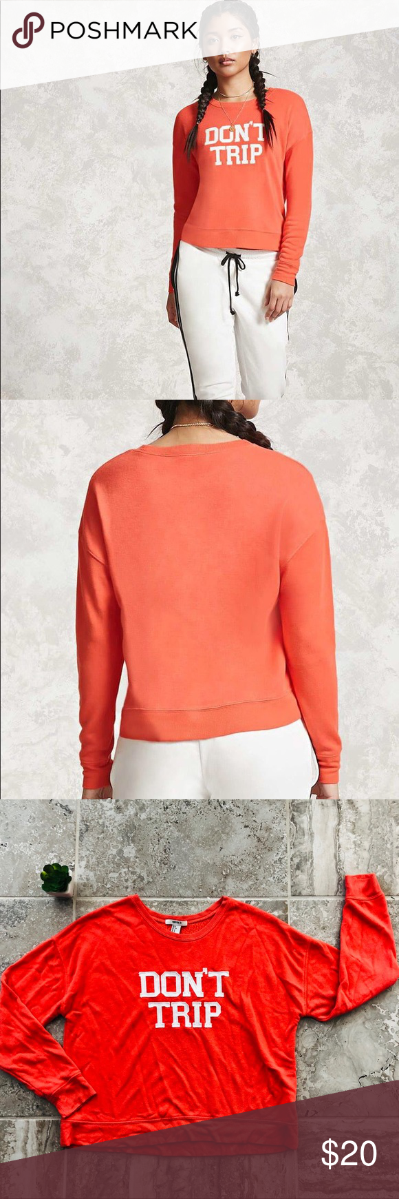 Forever 21 Don T Trip Sweatshirt Coral White S Fall Winter Wardrobe Knit Top Forever21 Tops [ 1740 x 580 Pixel ]