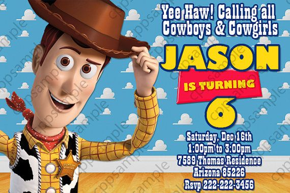 Woody Birthday Invitation Toy Story Birthday Party Invitation – Toy Story Party Invites