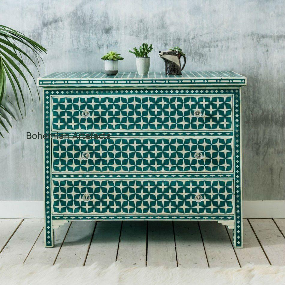 Bone Inlay Dresser Green Star Design Chest of Draw