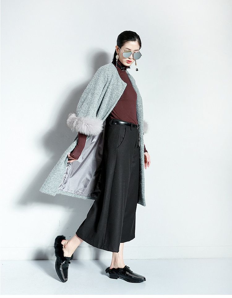 [TWOTWINSTYLE] 2016 Autumn Winter Real Natural Raccoon Fur Flare Sleeve Long Woolen Coat Women Blends New Fashion 3 Colors