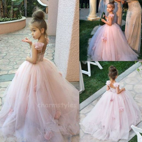 Girl Flower Bridesmaid Party Princess Prom Wedding Christening Communion Dresses