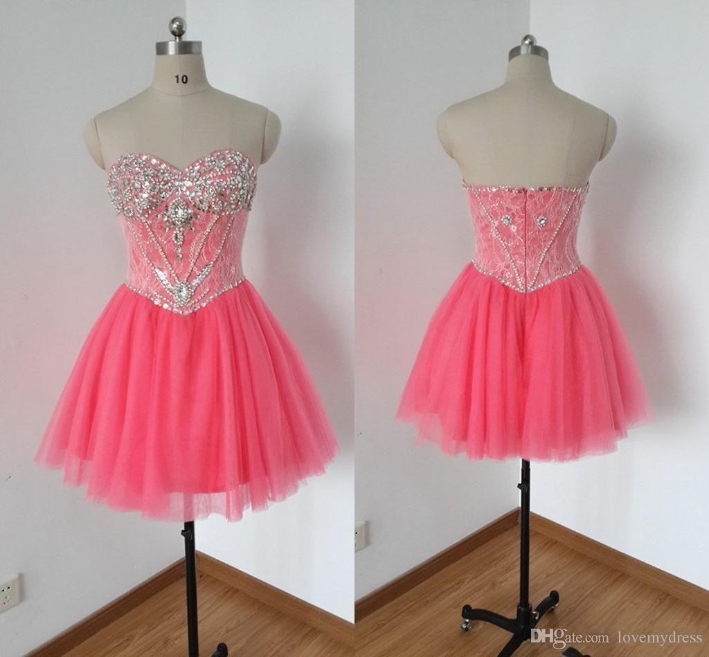Water Melon Prom Dress Short Mini Party Wear Custom Made Crystals ...