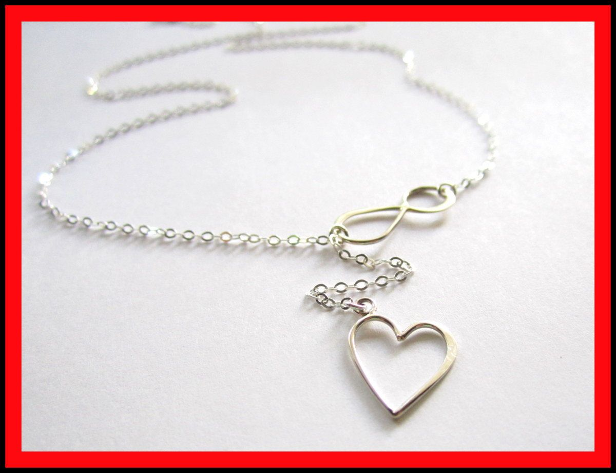 Heart Lariat in Sterling Silver, Valentine's day Gift Collection, Forever Love. $29.00, via Etsy.