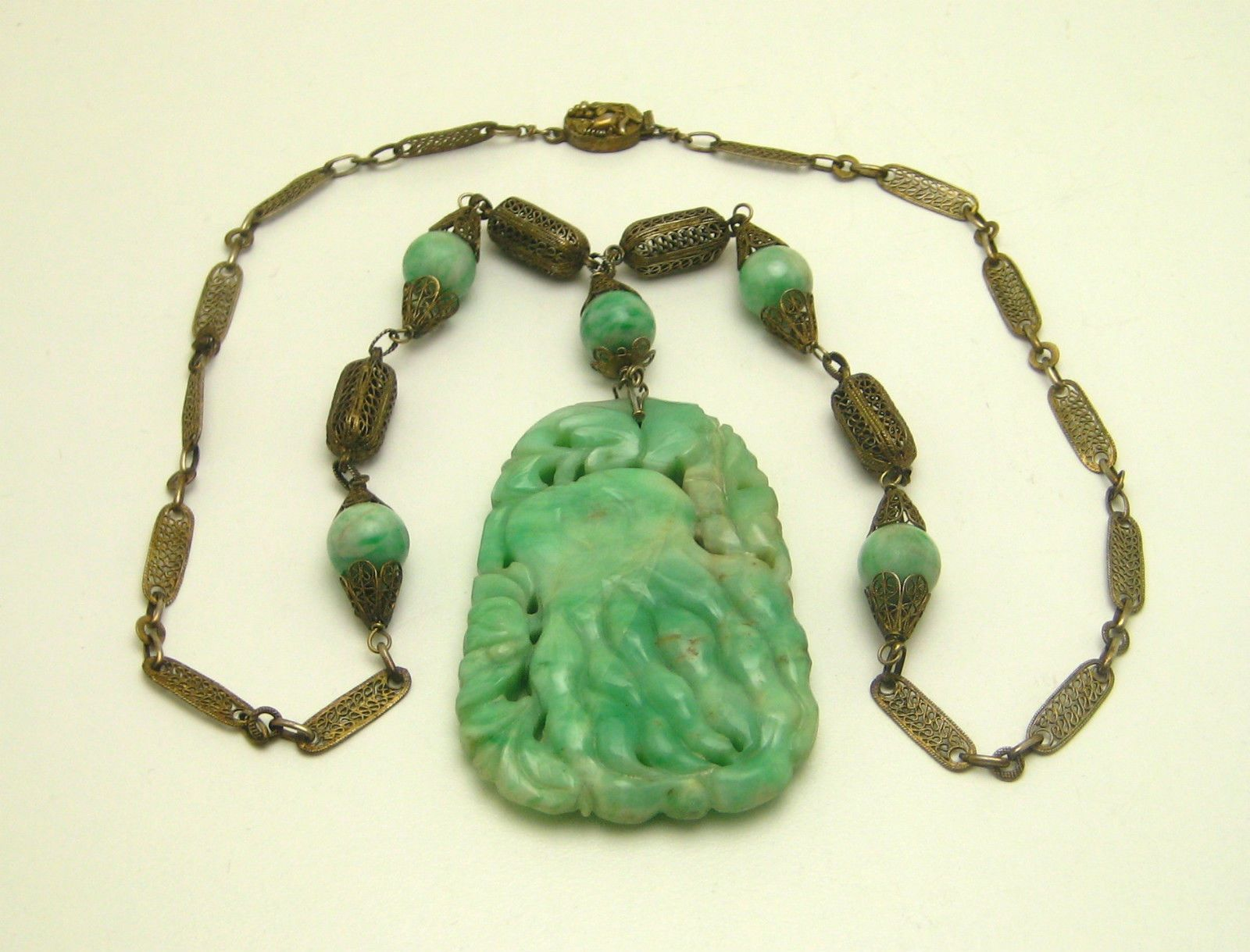 Antique chinese carved octopus jade pendant necklace gilded silver aloadofball Images