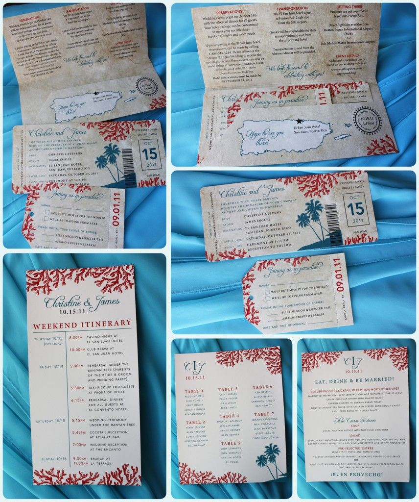 Teal Palm Trees Red Coral Antique Boarding Pass Wedding Invitations Weekend Itinerary Seating