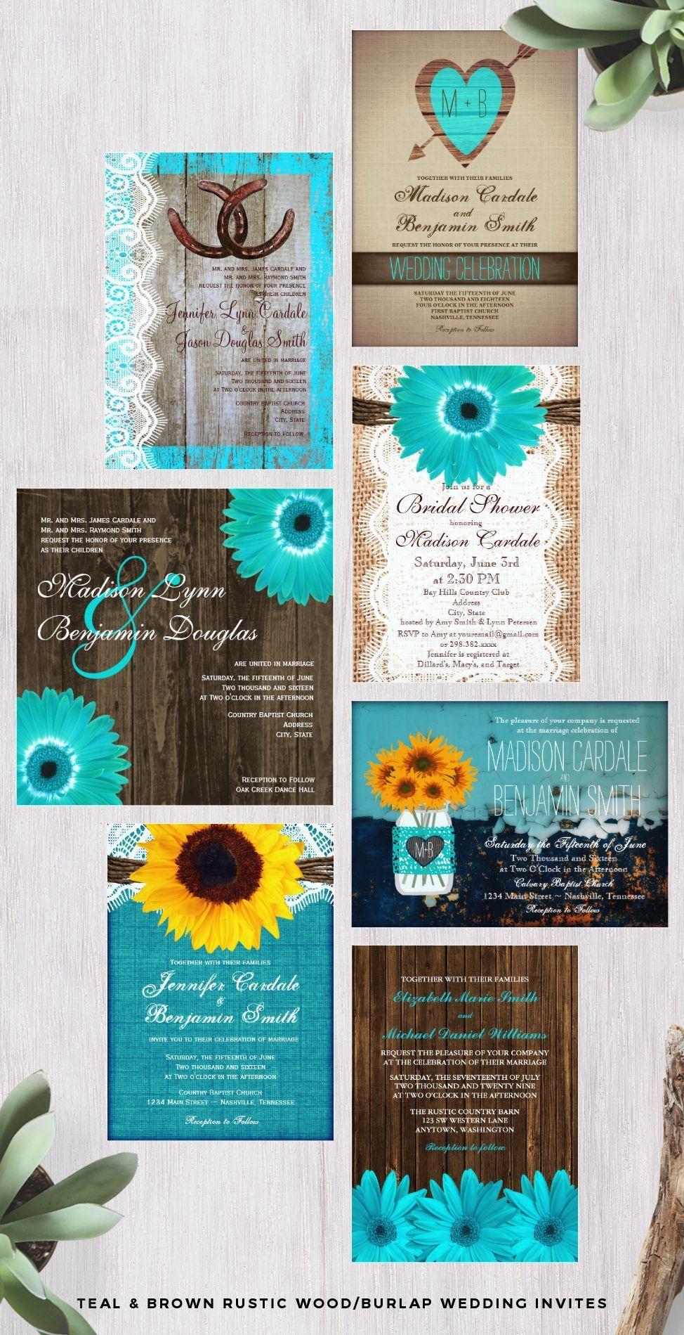 Teal aqua turquoise and brown rustic woodburlap wedding invitations