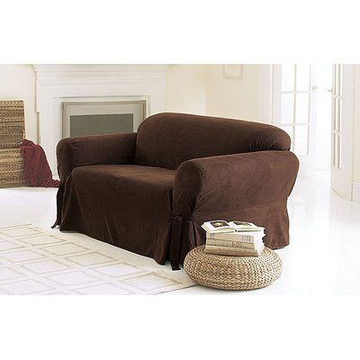 Sure Fit Soft Suede Box Cushion Sofa Slipcover Upholstery Chocolate Loveseat Slipcovers Slipcovers Slipcovers For Chairs