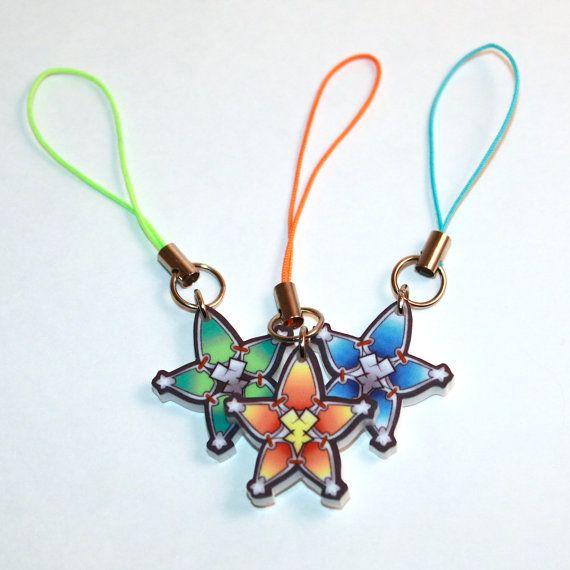 Kingdom Hearts Charm Bracelet: 3 Kingdom Hearts Wayfinder Star Aqua, Terra And Ventus
