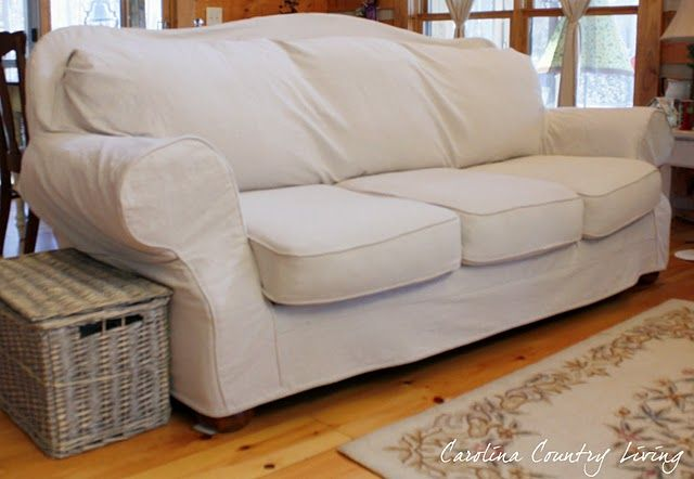 Leather Couch Slipcovered