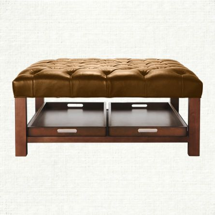 Butler Square Tufted Leather Ottoman With Trays In Libby Espresso
