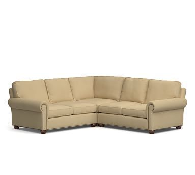Webster Roll Arm Upholstered 3-Piece L-Shaped Corner Sectional w/BRZ NH, Down Blend Wrapped Cushions, Performance Everydaysuede(TM) Oat