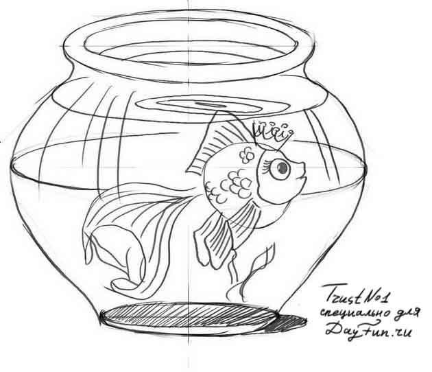 Картинки нарисованных рыбок в аквариуме