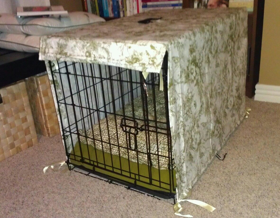 dog kennel cover easy to make yourself and make a matching pillow