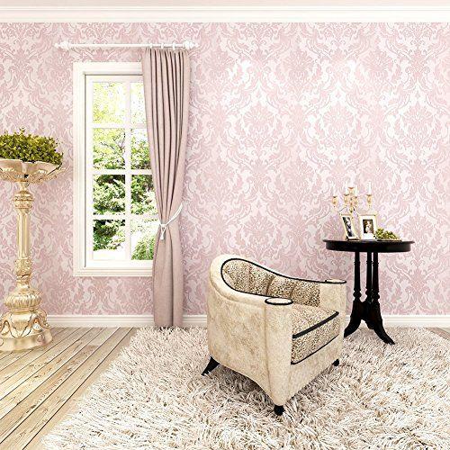 Papel pintado para dormitorio vintage barroco color rosa Papel