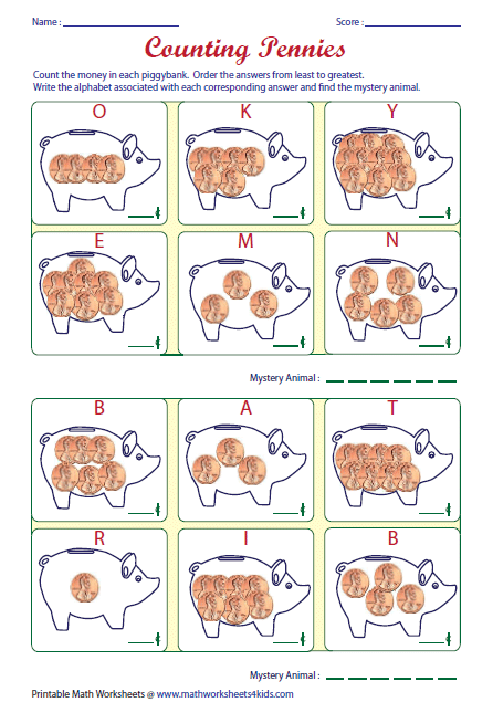 1 cent piggy bank worksheets - Google Search | Kindergarten ...